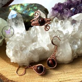Red Tiger Eye Copper Herringbone Earrings